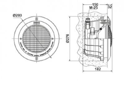 прожектор галогенный astral нерж.обод (под плитку) - 300 вт Astral pool (Испания) подводные прожекторы