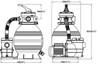 фильтрационная установка bridge top 5, 350 мм - 6 м3/час Bridge (Китай) фильтровальные установки