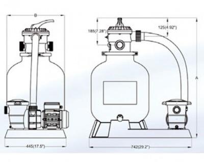 фильтрационная установка bridge top 16, 600 мм - 16 м3/час Bridge (Китай) фильтровальные установки