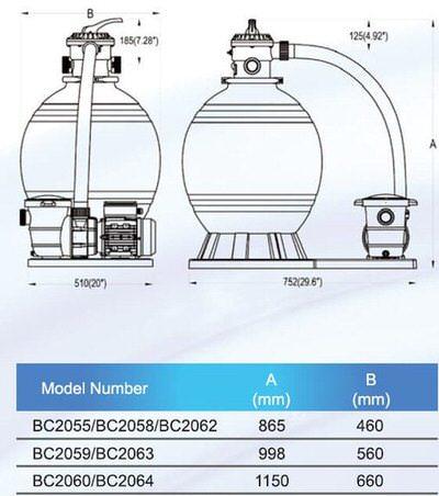 фильтрационная установка bridge top 8, 460 мм - 8 м3/час Bridge (Китай) фильтровальные установки
