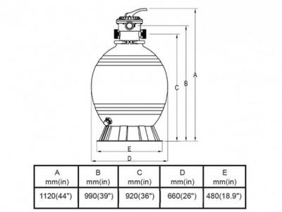 фильтрационная емкость bridge top 660 мм - 16.6 м3/час Bridge (Китай) фильтровальные емкости