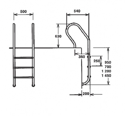 лестница для бассейна water metal company mixta - 5 ступеней Water metal company (Украина) лестницы для бассейна