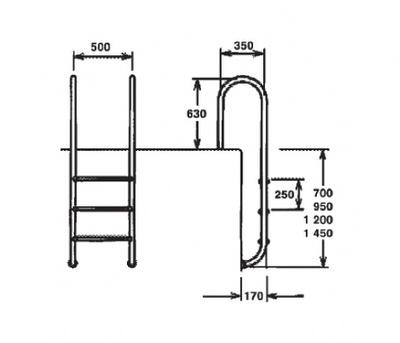 лестница для бассейна water metal company muro - 5 ступеней Water metal company (Украина) лестницы для бассейна