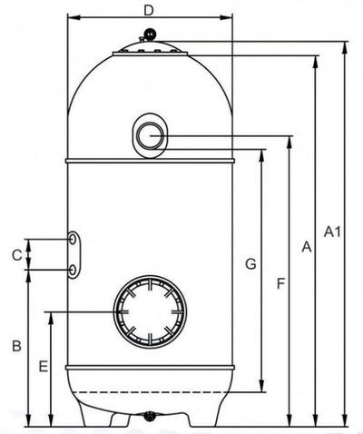 фильтрационная емкость kripsol san sebastian 900 мм - 25.2 м3/час Kripsol (Испания) фильтровальные емкости