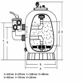 фильтрационная емкость emaux s1000 мм - 35 м3/час Emaux (Китай) фильтровальные емкости