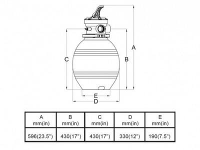 фильтрационная емкость bridge top 304 мм - 3.4 м3/час Bridge (Китай) фильтровальные емкости