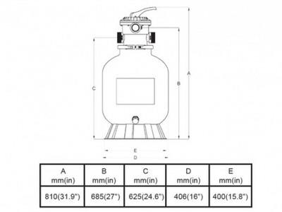 фильтрационная емкость bridge top 400 мм - 6 м3/час Bridge (Китай) фильтровальные емкости