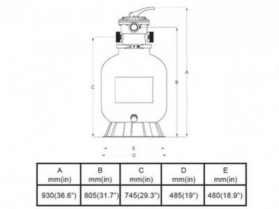 фильтрационная емкость bridge top 500 мм - 9.4 м3/час Bridge (Китай) фильтровальные емкости