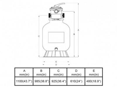 фильтрационная емкость bridge top 600 мм - 13.7 м3/час Bridge (Китай) фильтровальные емкости